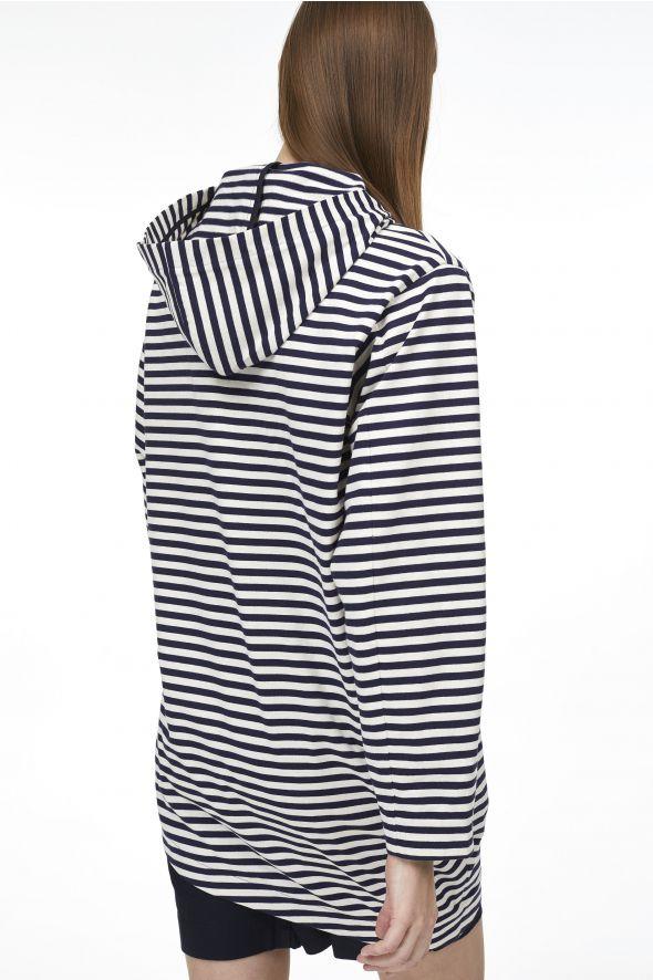 Sweatshirt rayé à capuche