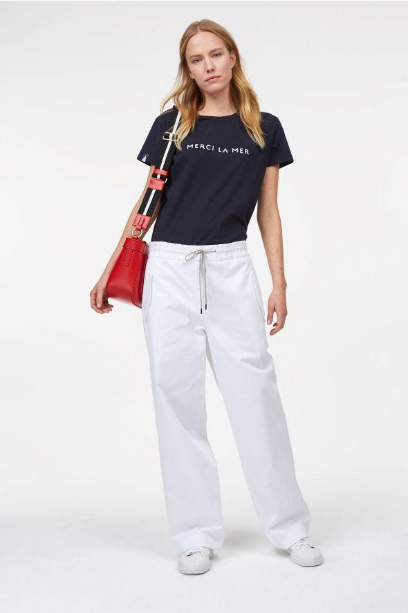 Pantalon large à taille élastique