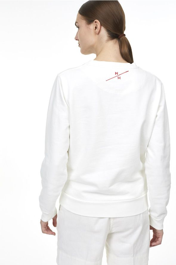 Sweatshirt blanc imprimé Monaco Marine