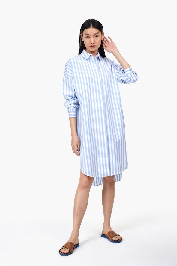Robe-chemise à rayures en coton