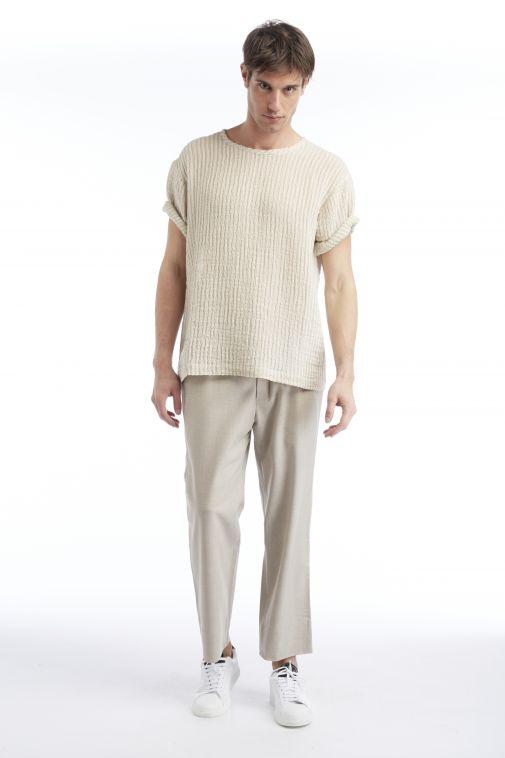 Commas - T-shirt beige loose