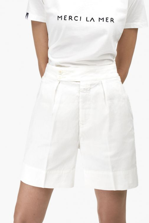 Closed - Short taille haute en lin et coton