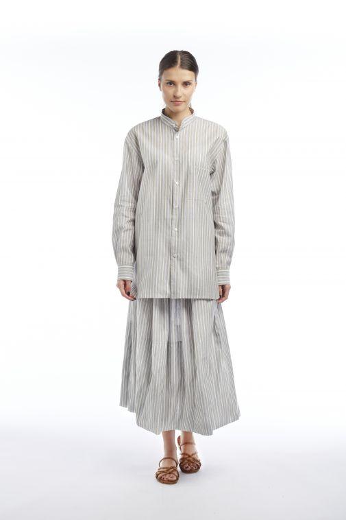 Crista Seya - Chemise en coton à col Mao