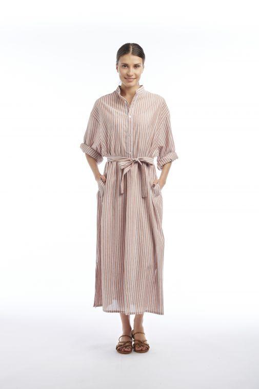 Crista Seya - Robe chemise marron à rayures