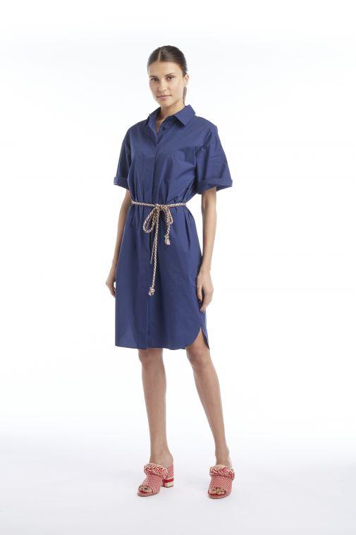 Odeeh - Robe chemise bleu marine