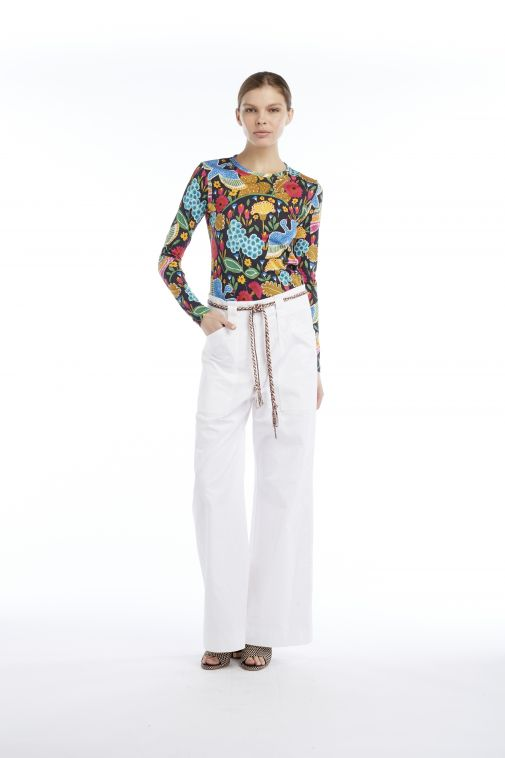 Odeeh - Pantalon blanc taille haute évasé