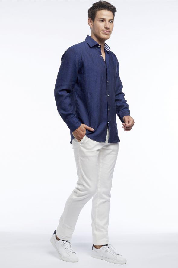 Monaco Marine Merci la Mer - Classic Mens Linen Shirt With Stripe Detailing